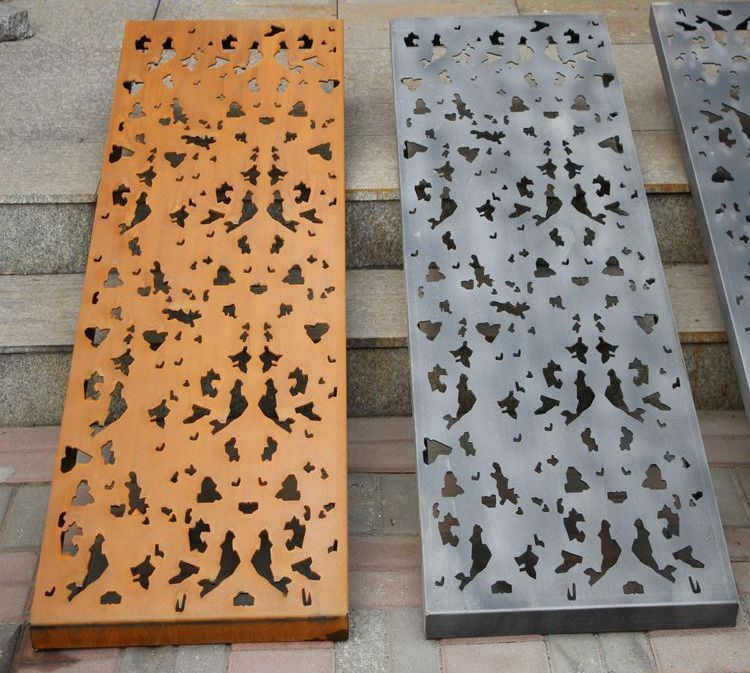 laser cut corten screen